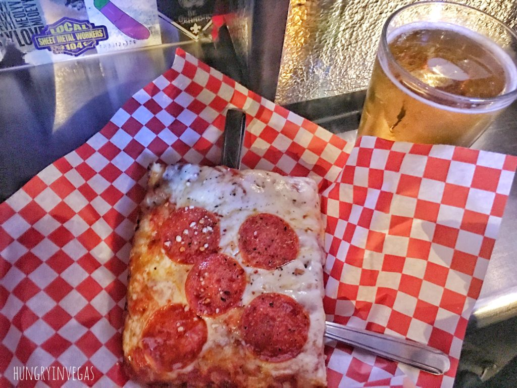 Pepperoni pizza beer