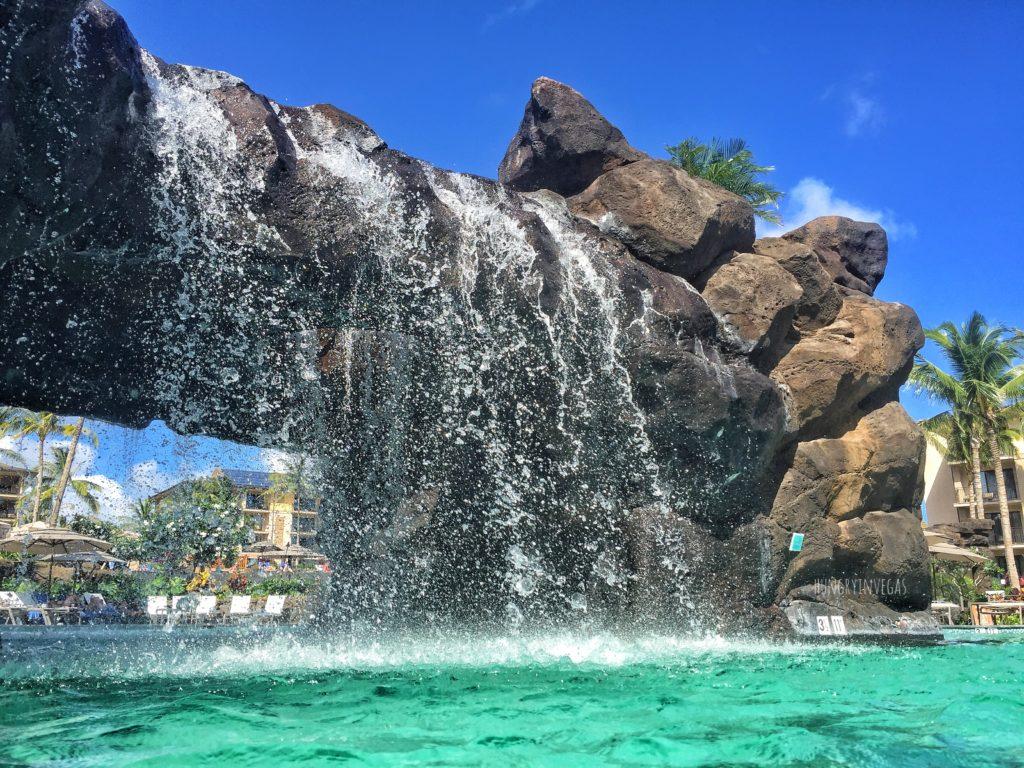 Stunning Walk-thru waterfall at Koloa Landing Resort